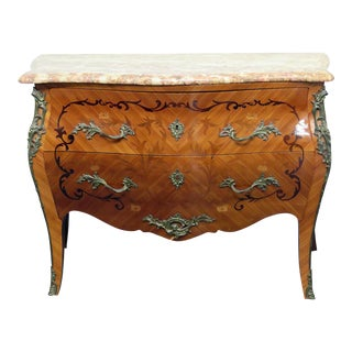 French Marble Top Bombay Commode
