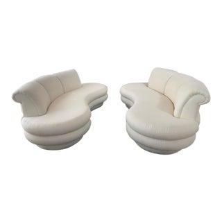 Twin White Art-Deco Style Sofas - A Pair