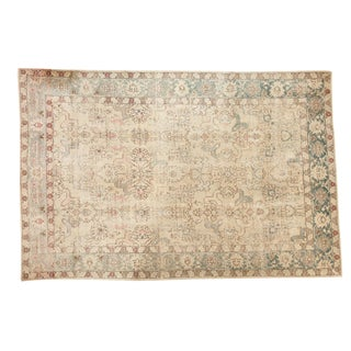 "Vintage Distressed Tabriz Carpet - 6'7"" X 9'11"" For Sale"