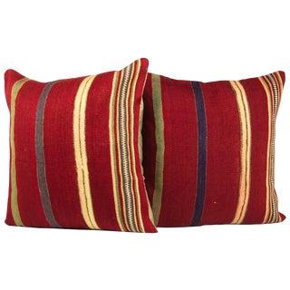 """Striped 20"""" Turkish Kilim Pillows - A Pair"""
