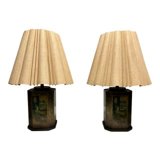 Asian Tea Container Table Lamps With Shades and Finials - a Pair For Sale