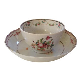 18th C. Chinese Export Tea Cup and Saucer For Sale