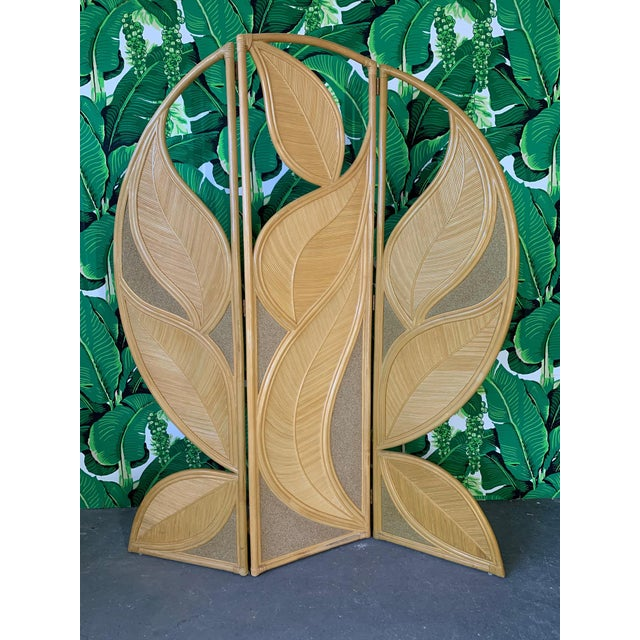Tropical Rattan Room Divider Folding Screen For Sale - Image 12 of 12