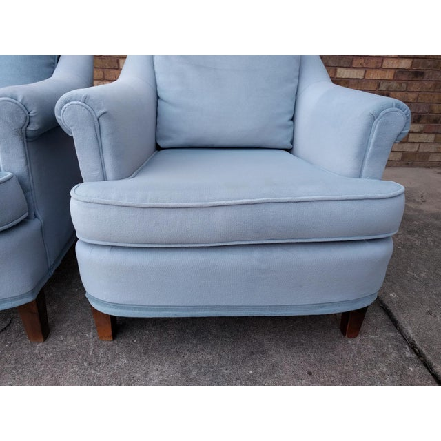 Vintage Blue Velvet Rolled Arm Club Chairs by Sam Moore Furniture - A Pair - Image 9 of 11