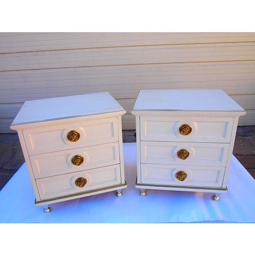 Cream 3 Drawer Night Stands - Image 4 of 7