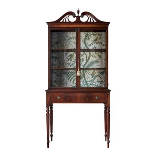 1930s Neoclassical Sheraton Style Hutch Curio Cabinet For Sale