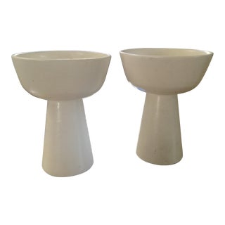 White Gainey Architectural Pottery Planter Vases - Pair