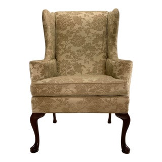 Vintage Wing Back Chair Hickory Ecru Raised Floral Upholstery For Sale