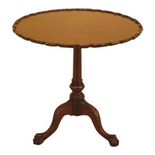 Early 21st Century Antique Carved Mahogany Chippendale Tilt Top Tea Table For Sale