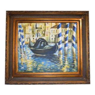 Vintage Lucien Simon (1861-1945) Venice Italy Oil Painting For Sale