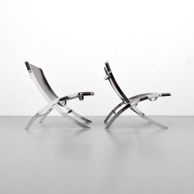 1960s American Paul Tuttle Chrome and Leather Lounge Chairs - A Pair - Image 4 of 4