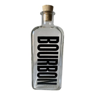 Vintage 1960s Typographic Bourbon Decanter, Made in Usa For Sale