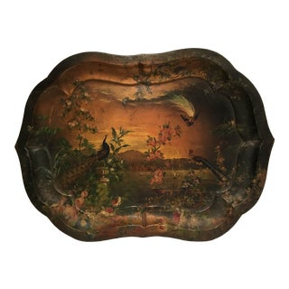 Early 20th C. Scenic Tole Tray For Sale