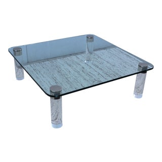 1970's Large Lucite Coffee Table For Sale
