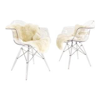 Mid-Century Style Lucite Chairs with Ivory Brazilian Sheepskin Throws - Pair For Sale
