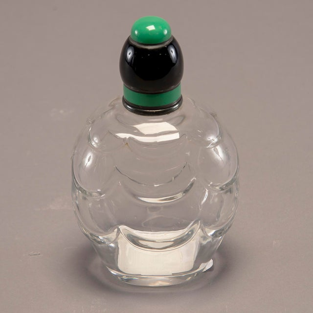 Baccarat Art Decoand Sterling Perfume Bottle With Green Top For Sale - Image 10 of 13