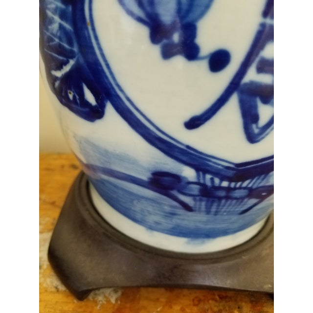 Chinese Vintage Chinese Blue and White Hand Painted Porcelain Table Lamp For Sale - Image 3 of 6