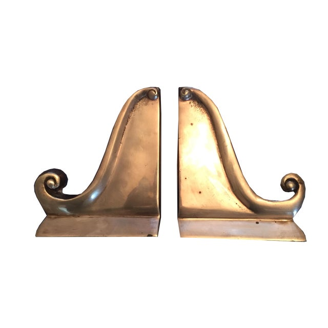 Vintage Hollywood Regency Brass Scrolled Bookends - A Pair - Image 1 of 5