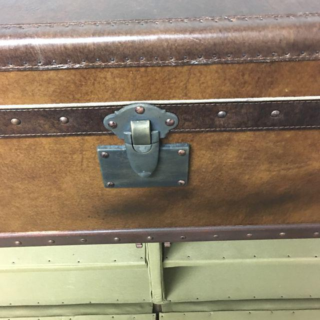 Restoration Hardware May Fair Leather Steamer Trunk Media Storage For Sale In San Francisco - Image 6 of 10