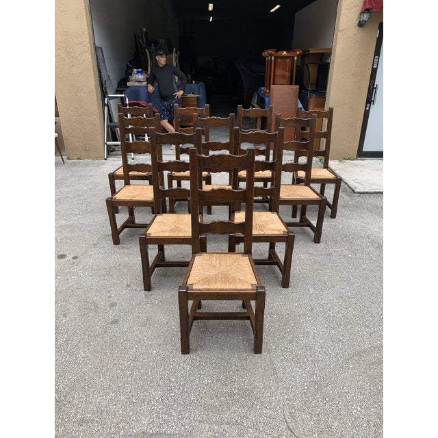 1910s French Louis Philippe Rush Seat Solid Walnut Dining Chairs - Set of 10 For Sale - Image 11 of 13