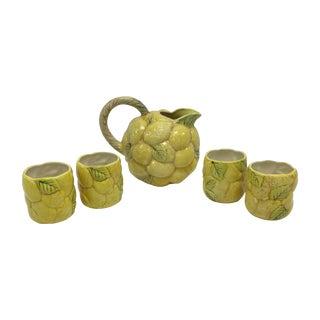 Lemon Pitcher & 4 Matching Glasses