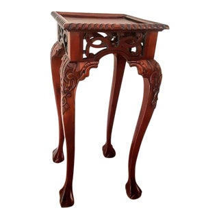 Ming Tall Carved Rosewood Accent Table For Sale