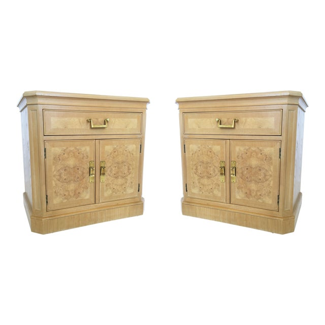 Pair of Mid-Century Modern Heritage Burl Wood Bedside Cabinets For Sale