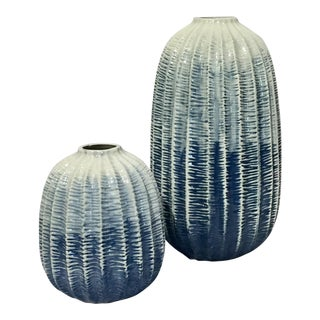 American Classical Fabulous Gradated Blue to White Vases - a Pair