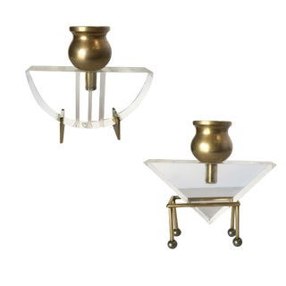 Modernist Bronze and Lucite Candle Stick Holder, Pair For Sale
