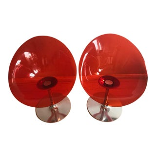 Kartell Opaque Red Chairs by Philippe Starck - A Pair For Sale