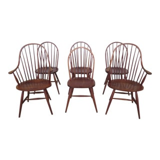 Frederick Duckloe Cherry Windsor Dining Room Chairs - Set of 6 For Sale