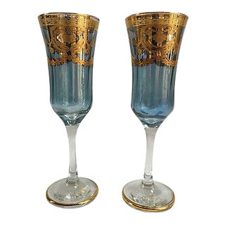 24k Gold Vintage Italian Champagne Flutes - A Pair