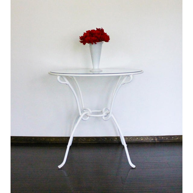 Glass Vintage White Metal Iron Glass Dining Table For Sale - Image 7 of 8