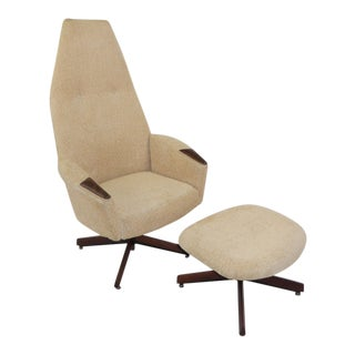 Adrian Pearsall Mid Century Modern High Back Lounge Chair with Ottoman Model 2174c for 1965 For Sale