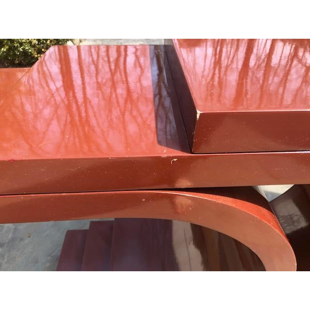 Paint 1970s Mid Century Modern Sculptural Lacquer Console Table For Sale - Image 7 of 9