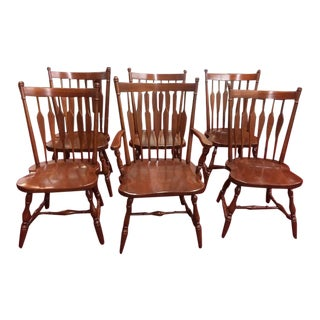 Vintage Harden Cherry Windsor Chairs - Set of 6 For Sale