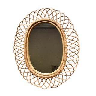 1950's Italian Wicker Oval Flower Burst Mirror