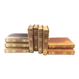 Early 20th Century Antique Caramel Leather Volumes - 9 Books For Sale
