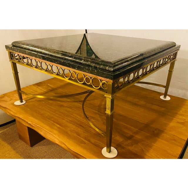 Hollywood Regency Granite Top on Brass Base Center Table For Sale - Image 13 of 13