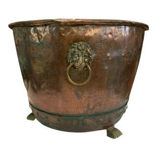 Antique Copper Cauldron With Rivets and Brass Lion Head Rings For Sale