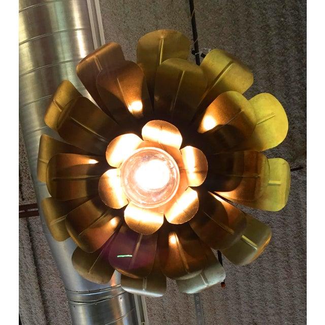 "Pair of Feldman Brass ""Lotus"" Pendant Chandeliers - Image 6 of 6"