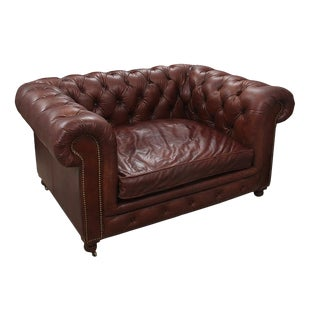 Chesterfield Style Tufted Brown Leather Loveseat on Casters For Sale