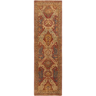 New Agra Red and Gold Wool Runner For Sale