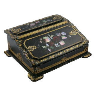Mid 19th Century Vintage Victorian Papier Mâché Painted Inlaid Lap Desk For Sale
