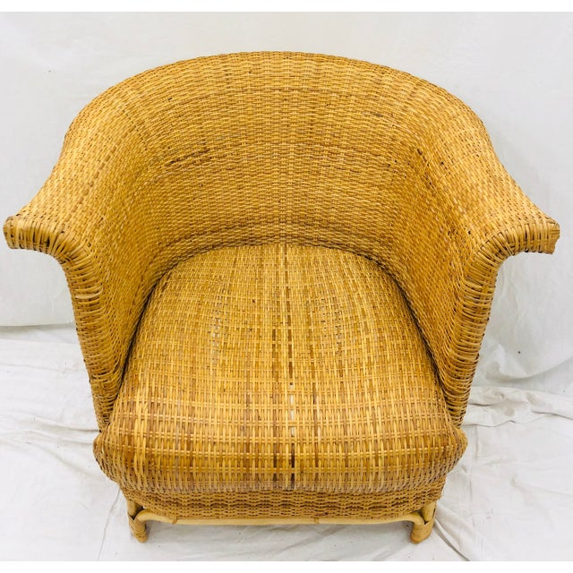 Wicker Vintage Palm Beach Chic Woven Wicker Arm Chair For Sale - Image 7 of 13