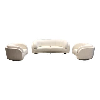 W.Schillig Arabesque Sofa and Pair of Swivel Chairs For Sale