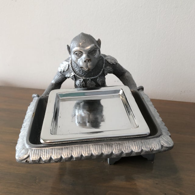 1970s 1970s Art Deco Silver Monkey Business Card Holder/Tray For Sale - Image 5 of 6