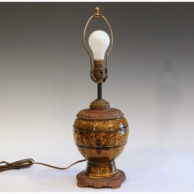 Gien Antique Old Gien French Pottery Deck Style Oil Lamp 19th Century Electrified For Sale - Image 4 of 11