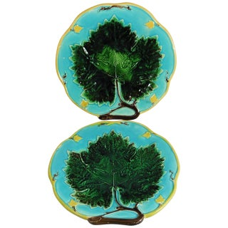 19th Century Victorian Joseph Holcroft Majolica Leaves Plates - a Pair For Sale