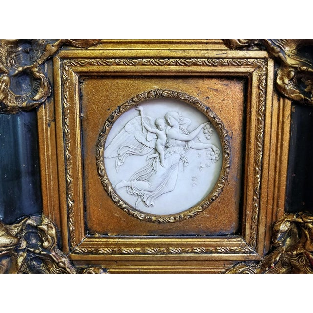 19th Century Russian Framed Marble Plaques Ft Angels- A Pair For Sale - Image 9 of 13
